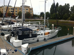"A ""before"" shot: Starboard view while still in Alameda. Life raft on deck by the jerry cans ready for mounting."