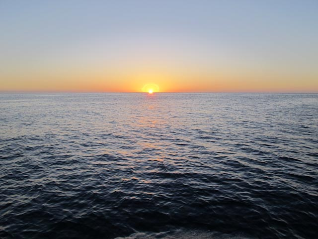Sunrise on the Sea of Cortez. Note the corona around the sun - pretty cool!