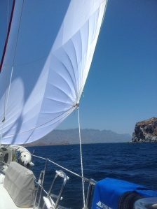 Rounding Pto. Candeleros with Isla Pardo to starboard