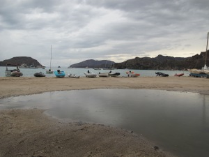 The Fleet is in. Beached dinghys at El Burro Cove