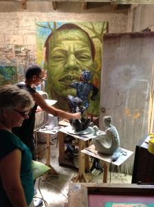 Puerto Rican artist Samuel Lind in his studio.